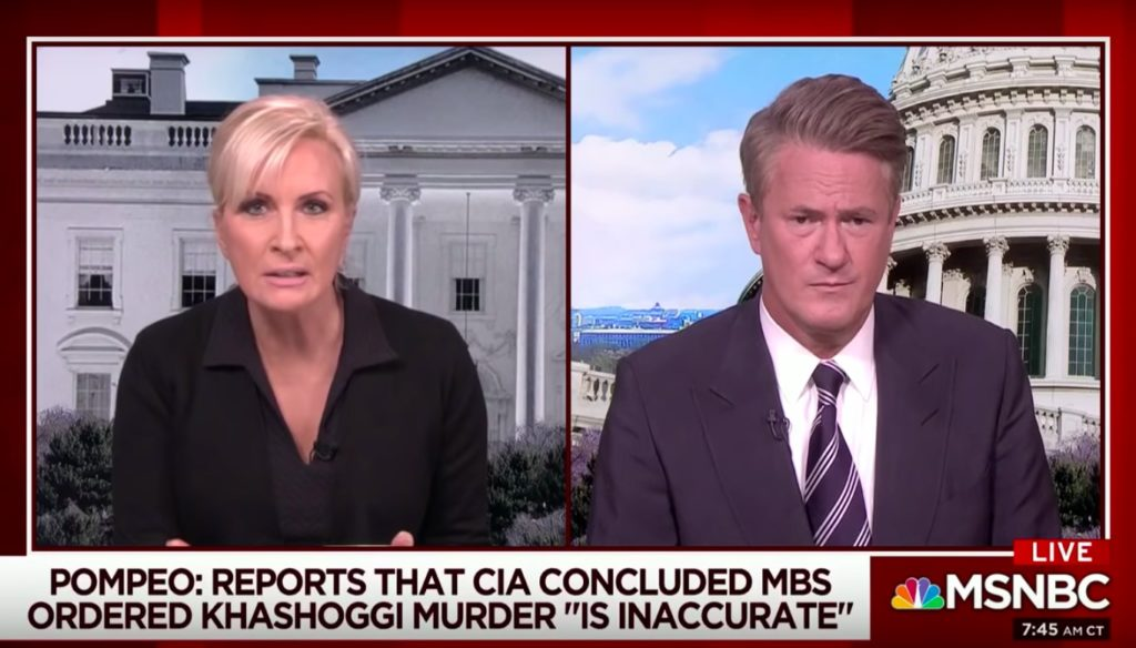 """A screenshot from Morning Joe when host Mika Brzezinski called Secretary of State Mike Pompeo a """"wannabe dictator's butt boy."""""""