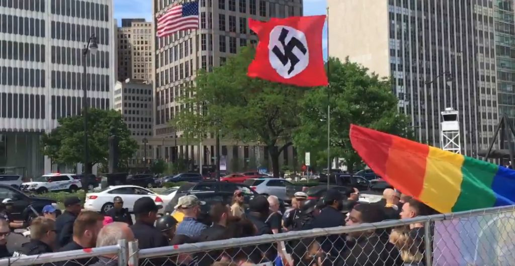 Neo-Nazi protesters were seen walking past Motor City Pride attendees in Detroit. (Twitter)