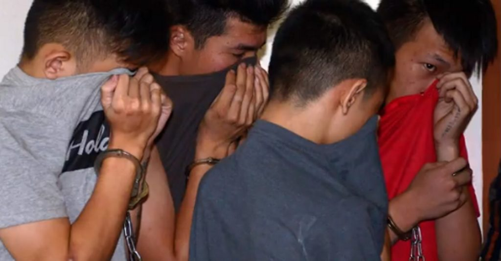 A photo of the four suspects in the murder of a trans woman in Pahang, Malaysia in December 2018