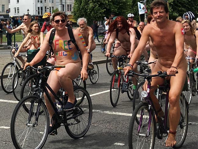 Bikers in the Naked Bike Ride