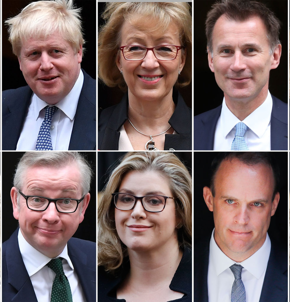 Boris Johnson, Andrea Leadsom, Jeremy Hunt, Dominic Raab, Penny Mordaunt and Michael Gove