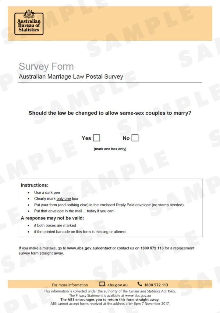 Equal marriage survey form from the Australian Bureau of Statistics