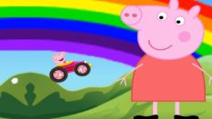 Peppa Pig with a rainbow