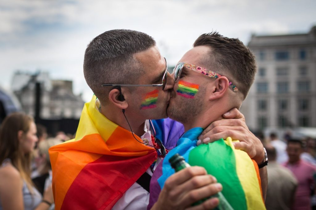 A gay kiss at Pride in London