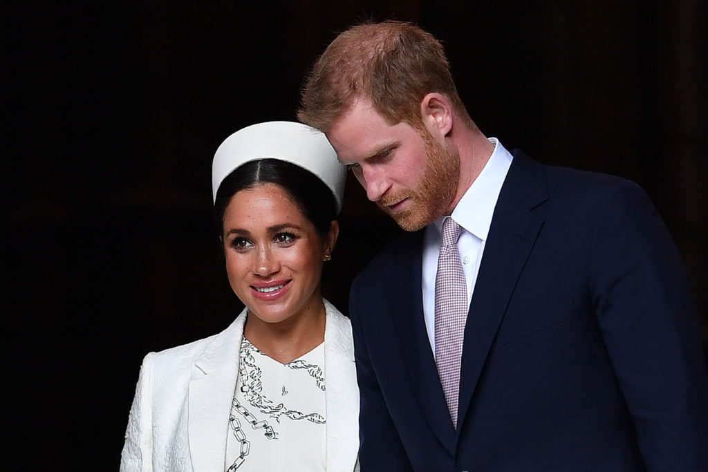 Prince Harry, Duke of Sussex and Meghan, Duchess of Sussex leave after attending a Commonwealth Day Service at Westminster Abbey in central London, on March 11, 2019.