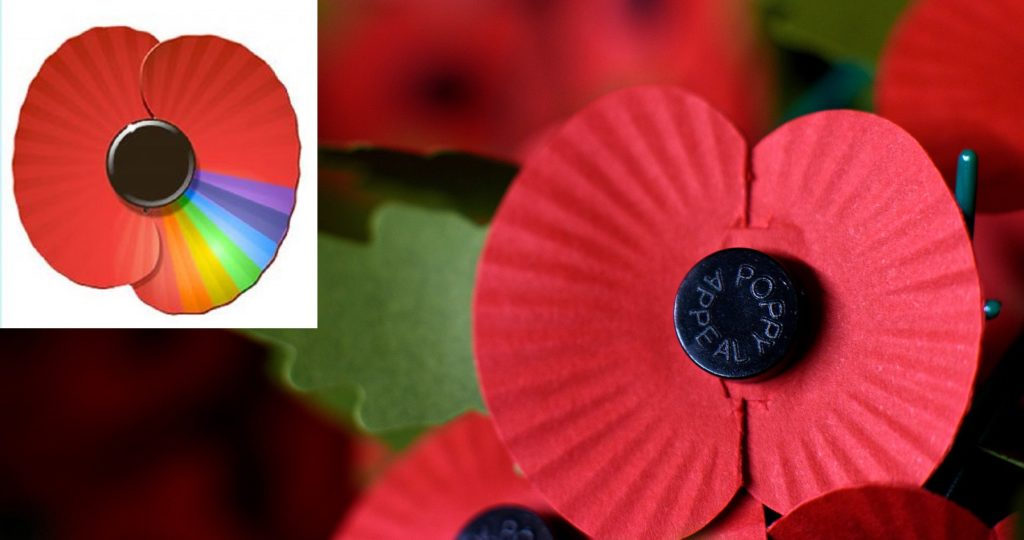 A rainbow poppy, and poppies being packaged at the Royal British Legion.