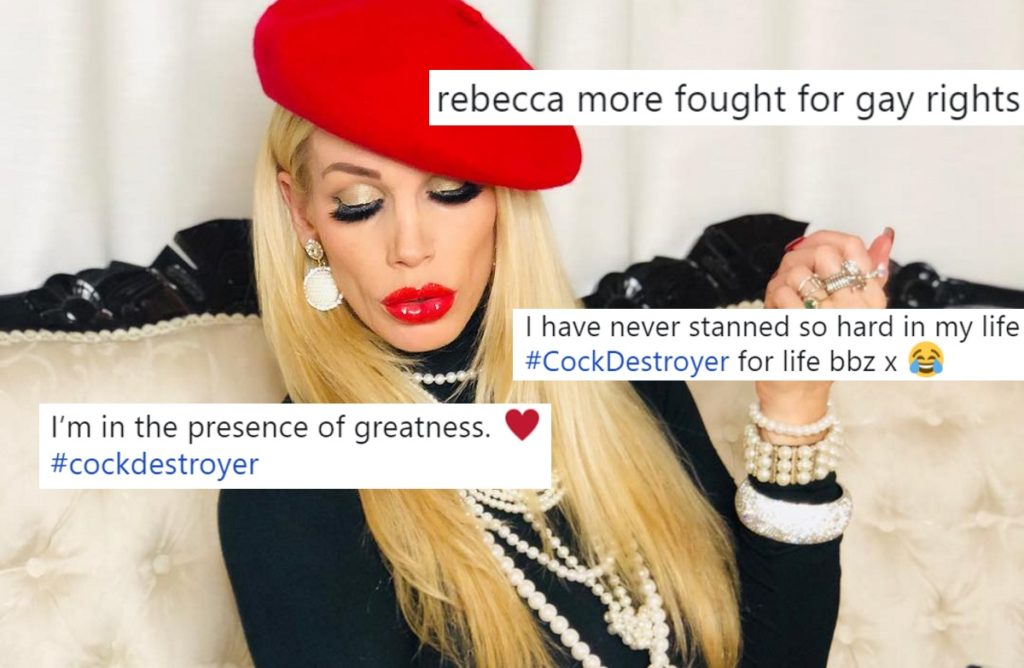 Porn star Rebecca More poses with overlaid tweets