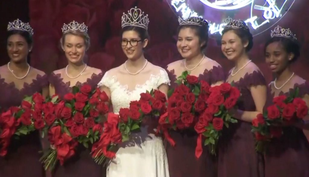 The Rose Parade's Rose Queen, Louise Deser Siskel, and her court