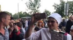 Protesters outside the 'Side By Side' film festival in Moscow. (Dozhd TV)