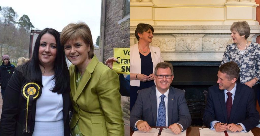 Angela Crawley with Nicola Sturgeon - and the DUP-Tory deal