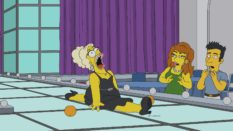 Homer Simpson in drag, sashaying down the catwalk