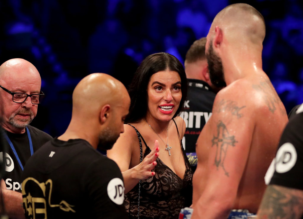 Tony Bellew's wife Rachael Roberts talking to him on November 11