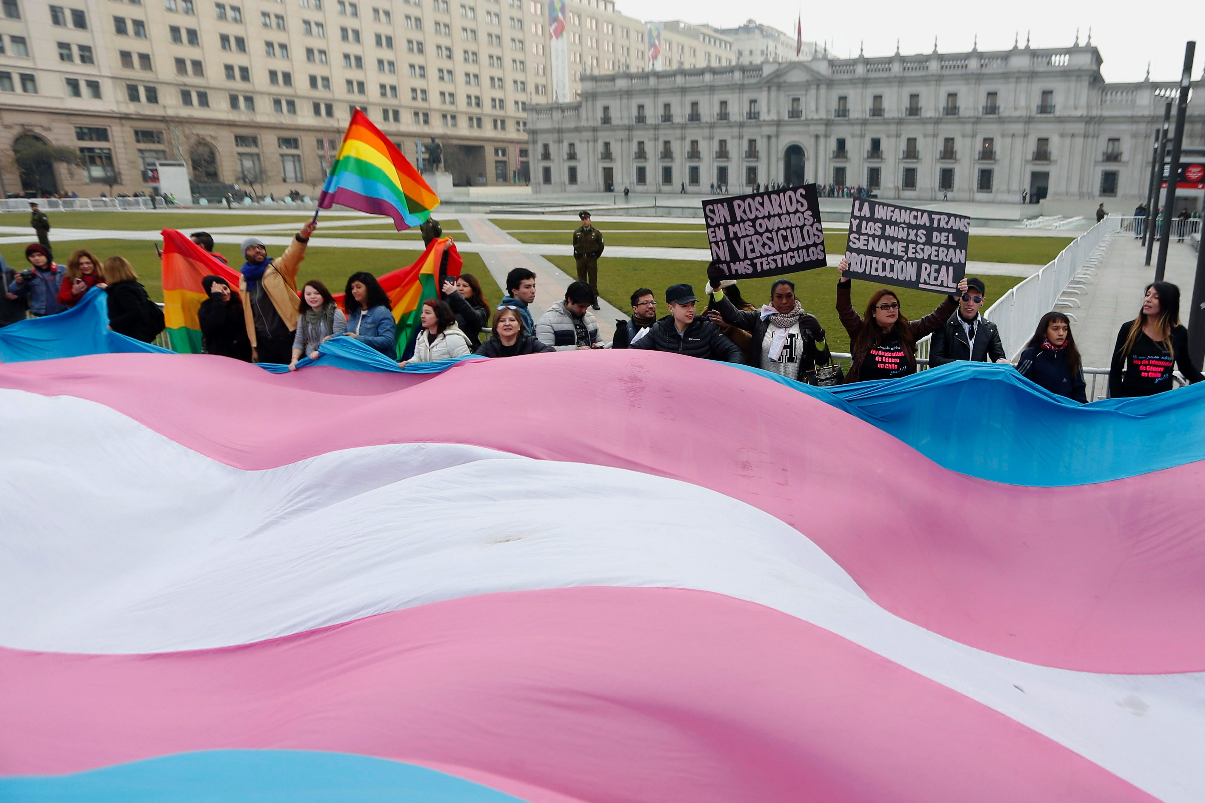 Trans campaigners in Santiago, Chile, where a landmark trans rights law has been passed