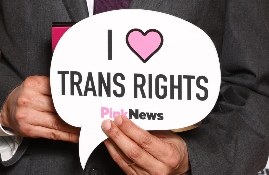 """A trans rights placard –the government has said it will announce its response to the gender recognition act in """"Spring next year"""""""