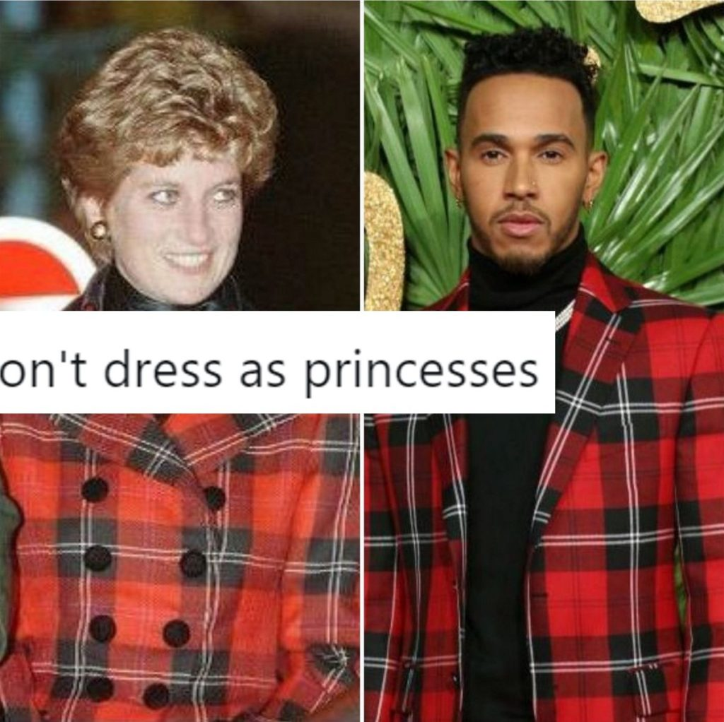 This hilarious meme of Lewis Hamilton and Princess Diana has