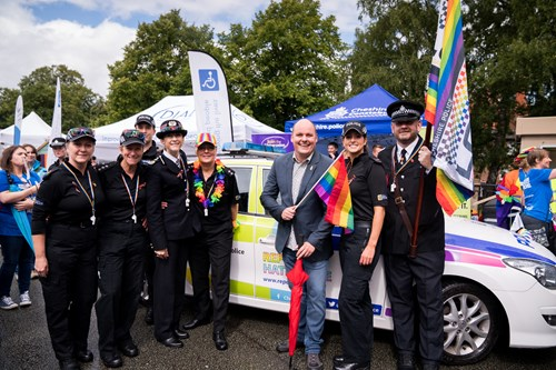 Cheshire Police officers attending a Pride event