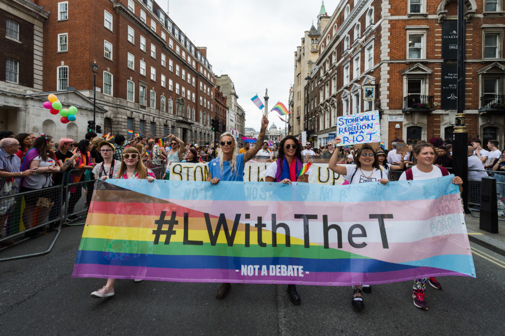 A group of lesbian campaigners show solidarity with the trans community at 2019's Pride in London march.