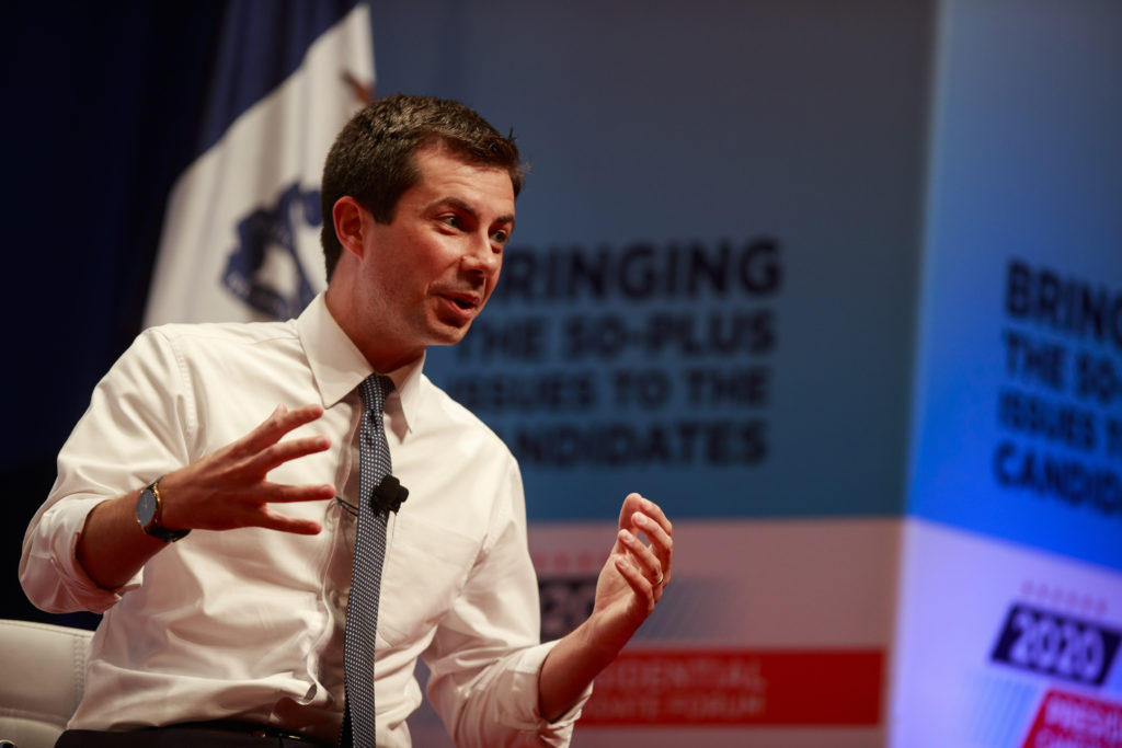 Democratic presidential hopeful Pete Buttigieg speaks during the AARP 2020 Presidential Candidate Forum in Council Bluffs.