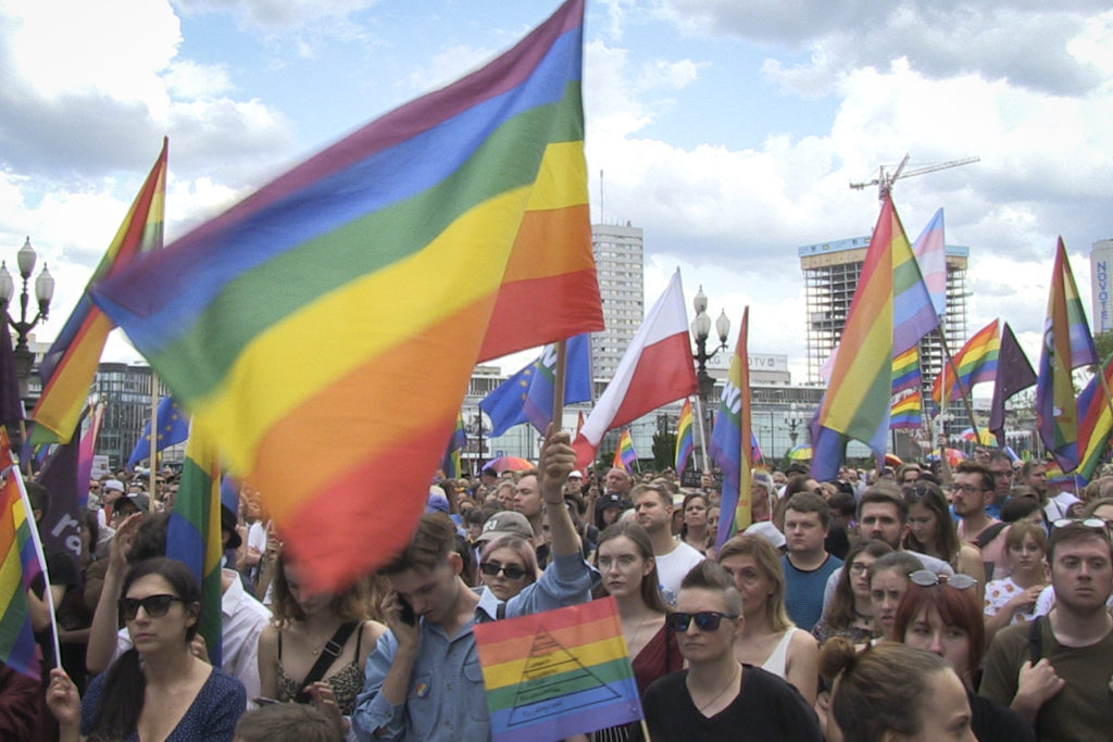 people gathered in the center of Warsaw, Poland on July 27, 2019 in support of LGBT rights following a pride march turned violent in the city of Bialystok
