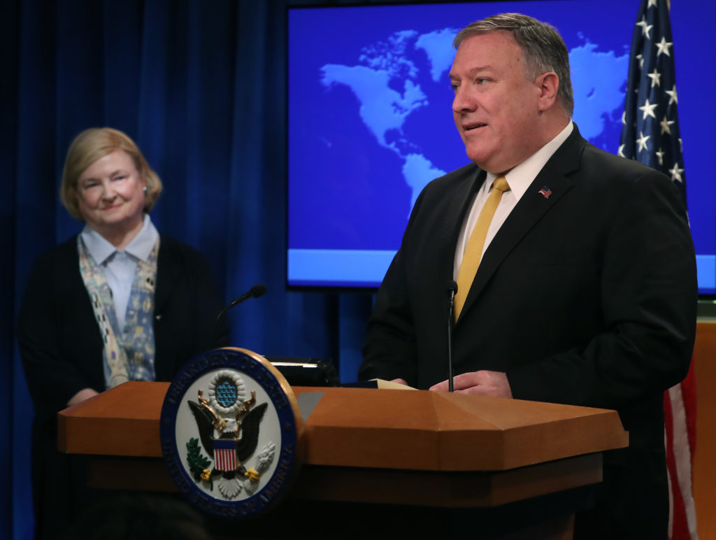 "US Secretary of State Mike Pompeo is joined by commission chair Harvard Professor Mary Ann Glendon while announcing the formation of a commission to redefine human rights, based on ""natural law and natural rights"", during a news conference at the Department of State, on July 8, 2019 in Washington, DC."