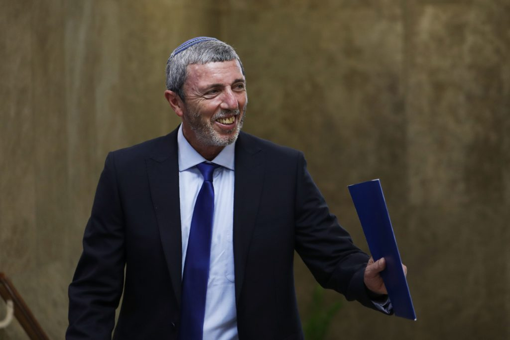 Israeli Education Minister Rafi Peretz arrives to the weekly cabinet meeting in Jerusalem on July 14, 2019