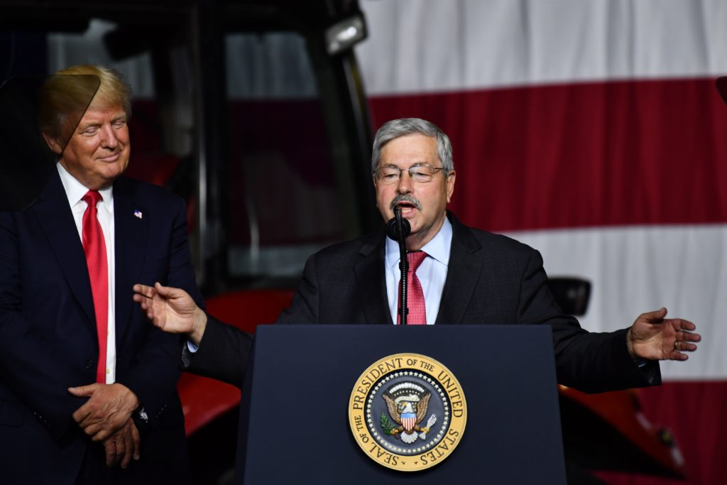 US President Donald Trump is introduced by Republican Ambassador to China Terry Branstad