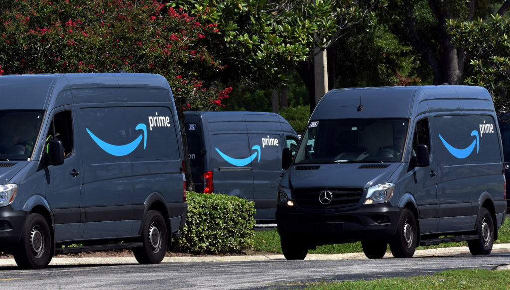 Amazon vans lined up