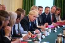 Prime Minister Boris Johnson presides over his first Cabinet meeting at 10 Downing Street on July 25, 2019.