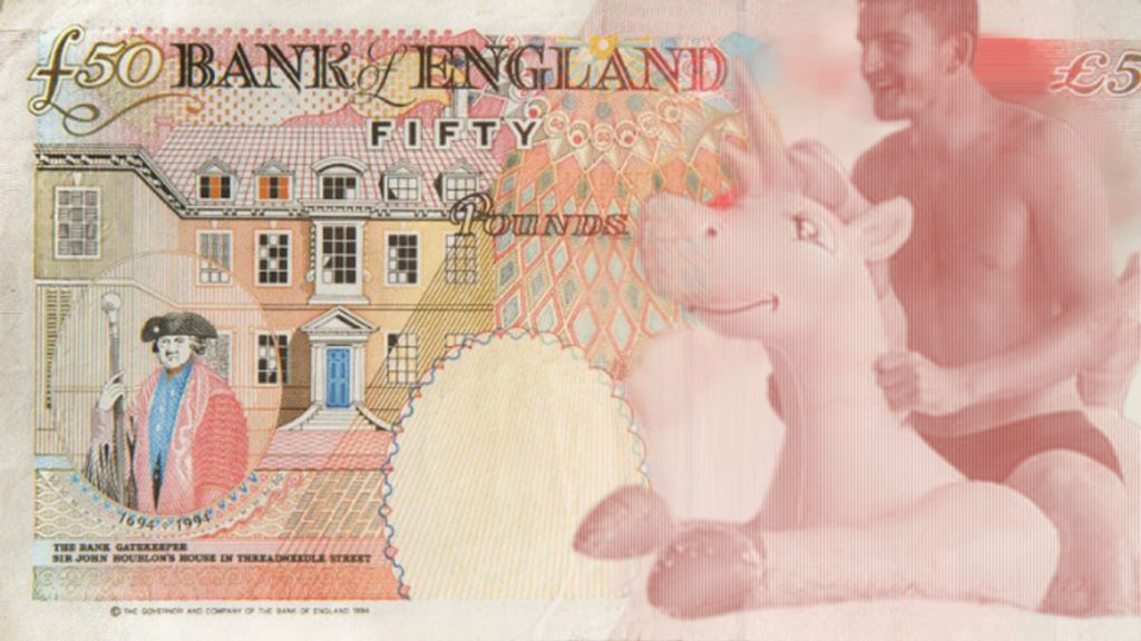 Harry Maguire riding an inflatable unicorn design for £50 note