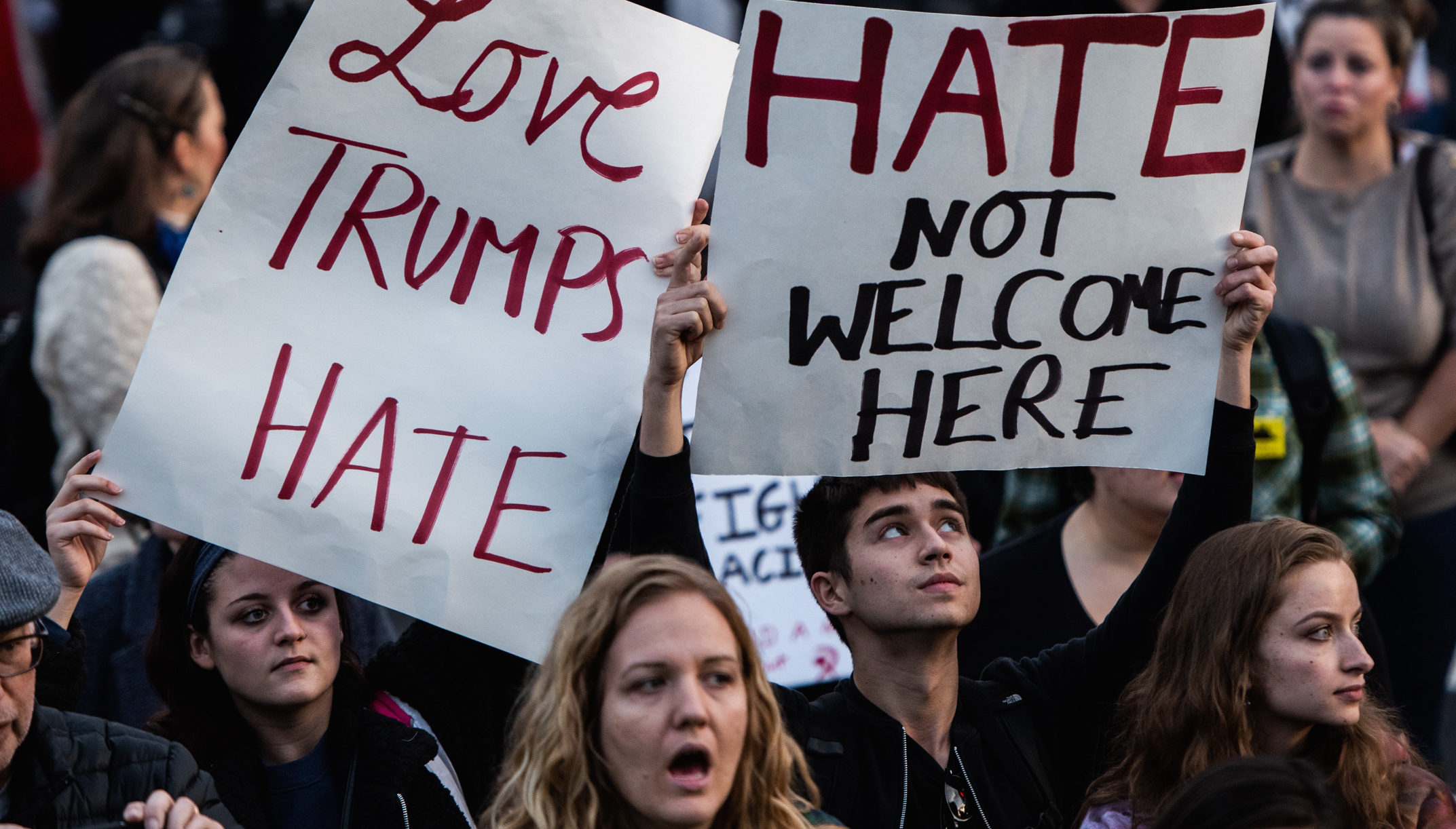 Main image to represent hate crimes rising in the USA