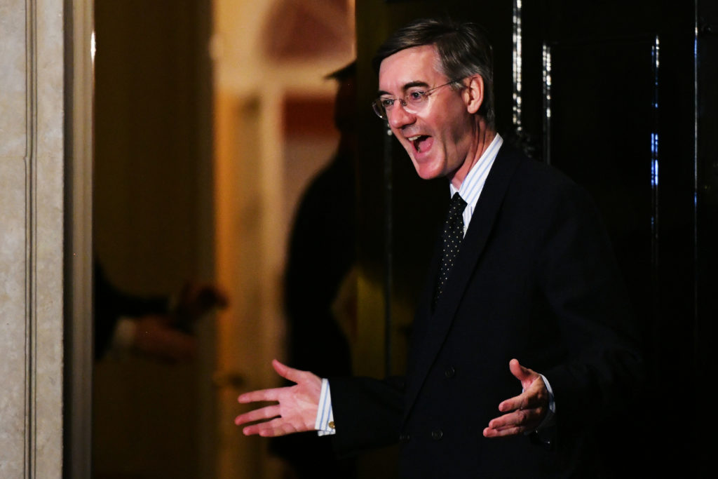 Jacob Rees Moog with his hands open