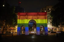 London's Marble Arch lit up in rainbow colours to celebrate Pride