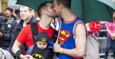 Two men share a kiss as they take part in the LGBT parade during the annual Pride In London parade on June 28, 2014 in London, England.