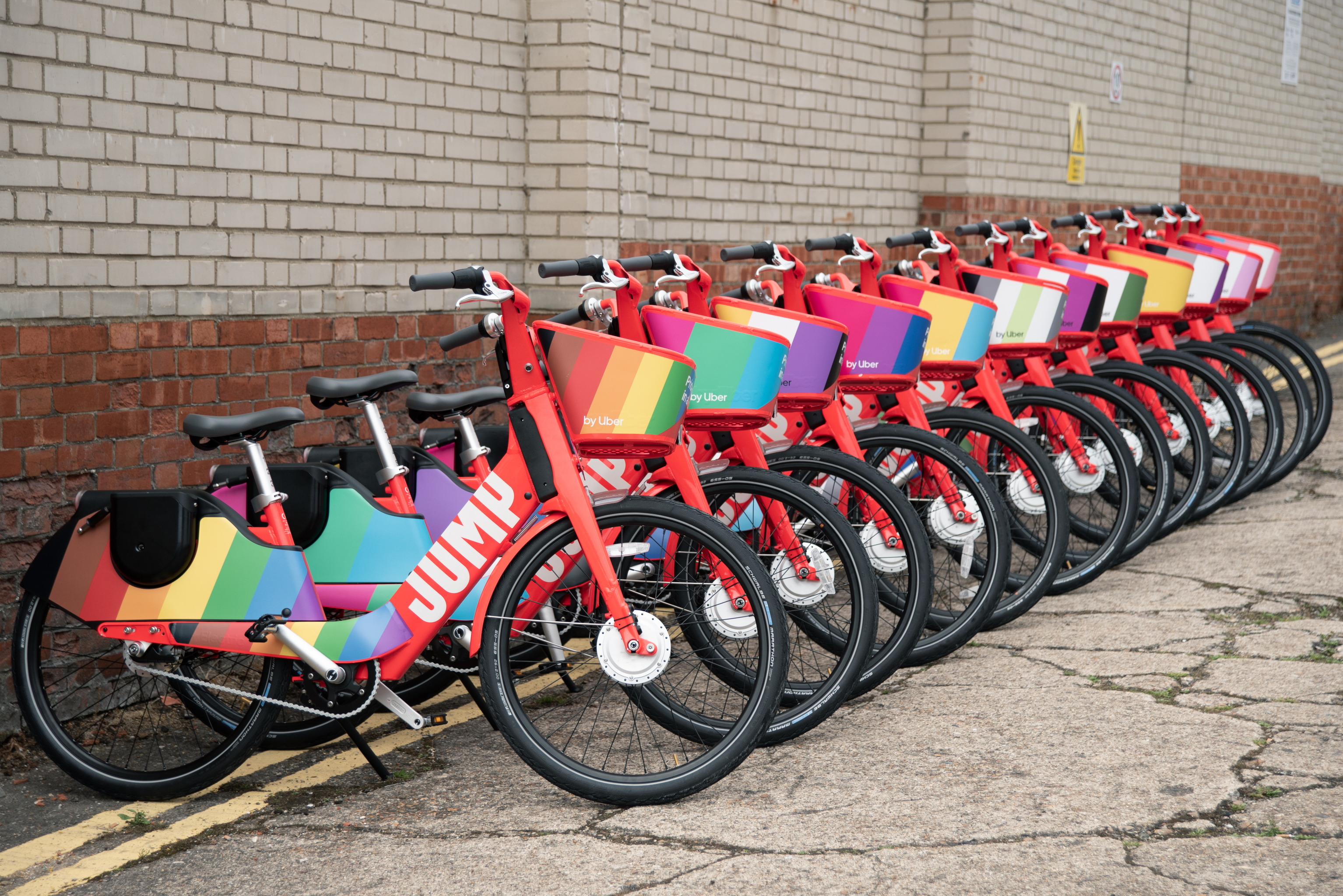 Uber's JUMP bikes decorated with LGBT flags to celebrate Pride