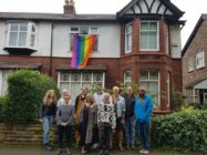 Rainbow flags on the street where the Manchester resident suffered 'homophobic abuse.'