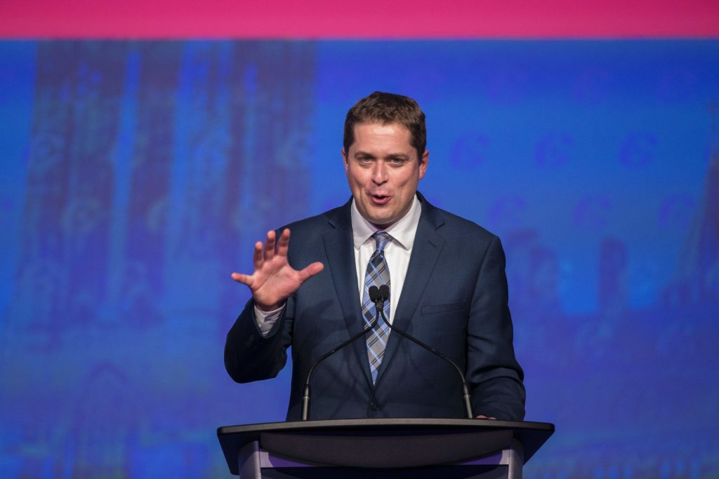 Andrew Scheer, newly elected leader of the Conservative Party of Canada, speaks at the party's convention in Toronto, Ontario, May 27, 2017