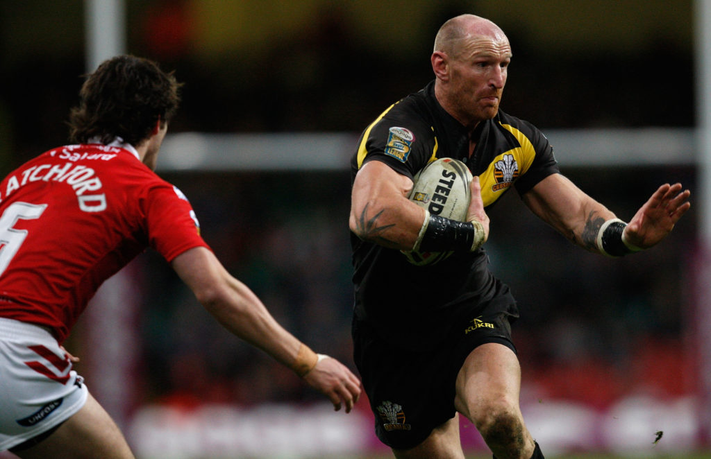 Gareth Thomas of Crusaders in action during the Engage Super League Match between Crusaders RL and Salford City Reds at Millennium Stadium on February 13, 2011 in Cardiff, Wales.