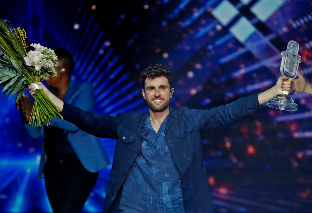 Rotterdam: The Netherlands' Duncan Laurence celebrates after winning the 64th edition of the Eurovision Song Contest 2019 at Expo Tel Aviv on May 19, 2019,