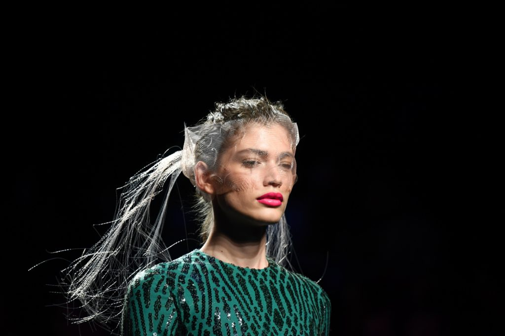 Brazilian model Valentina Sampaio presents a creation from Spanish designer Miguel Marinero's Spring/Summer 2020 collection during the Mercedes Benz Fashion Week in Madrid on July 10, 2019.