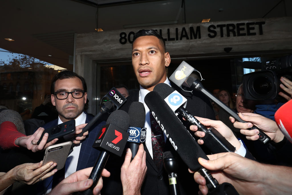 Israel Folau speaks to media following aconciliation meeting with Rugby Australia at Fair Work Commission on June 28, 2019 in Sydney, Australia.