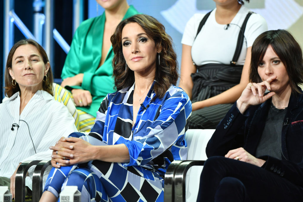 "Ilene Chaiken, Jennifer Beals and Katherine Moennig of ""The L Word: Generation Q"" speak during the Showtime segment of the 2019 Summer TCA Press Tour at The Beverly Hilton Hotel on August 2, 2019"