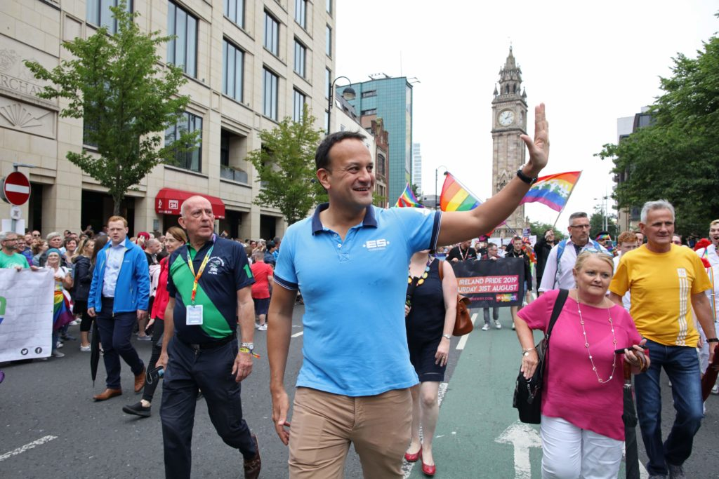 Ireland's Taoiseach Leo Varadkar joins members of the LGBT+ community and supporters as they take part in the Belfast Pride Parade 2019 in Belfast, Northern Ireland on August 3, 2019.