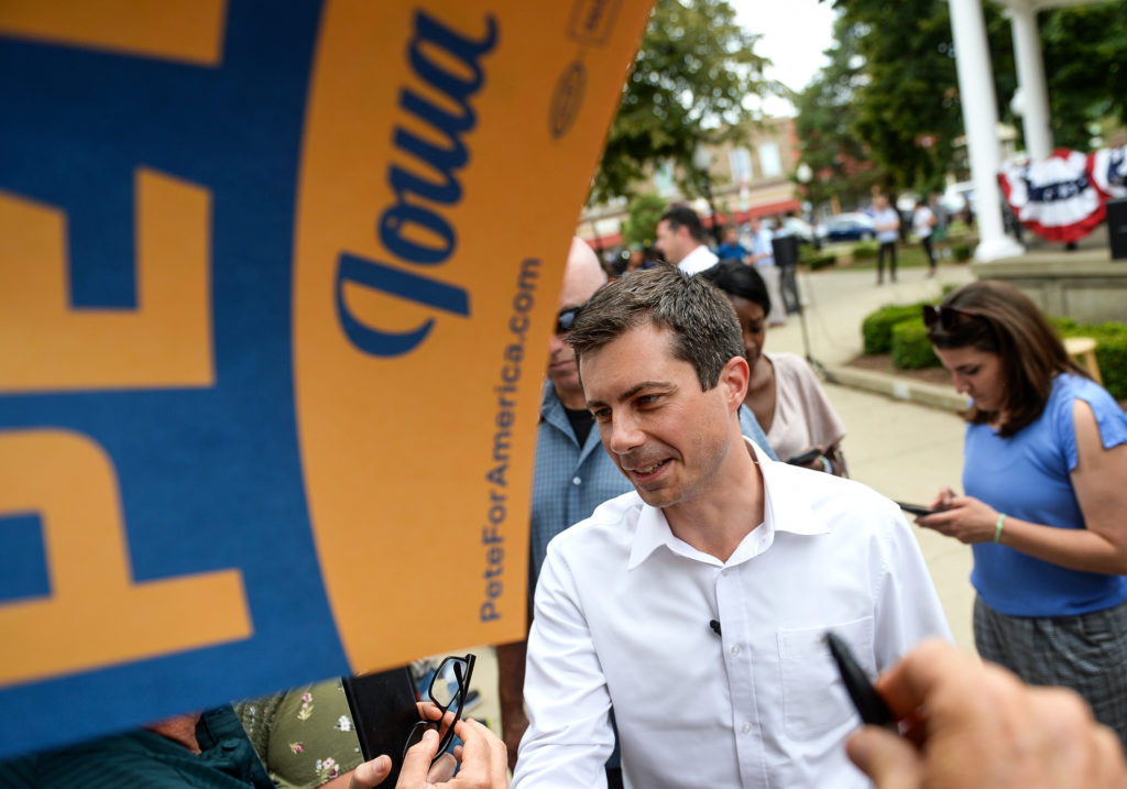 Democratic presidential candidate and South Bend, Ind., Mayor Pete Buttigieg talks with attendees at a campaign event in Fairfield, Iowa on Thursday August 15, 2019.