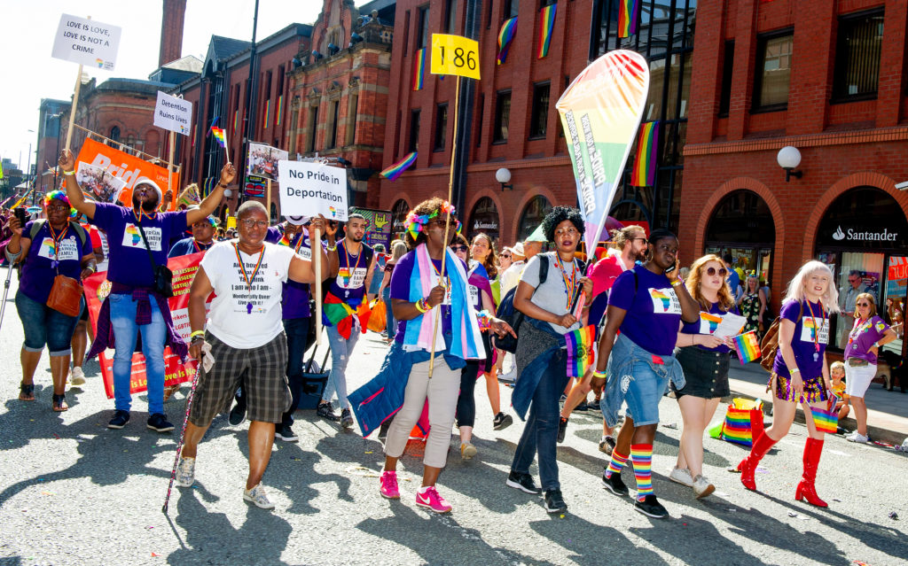 Parade goers enjoy Manchester Pride 2019 on August 24, 2019 in Manchester, England.