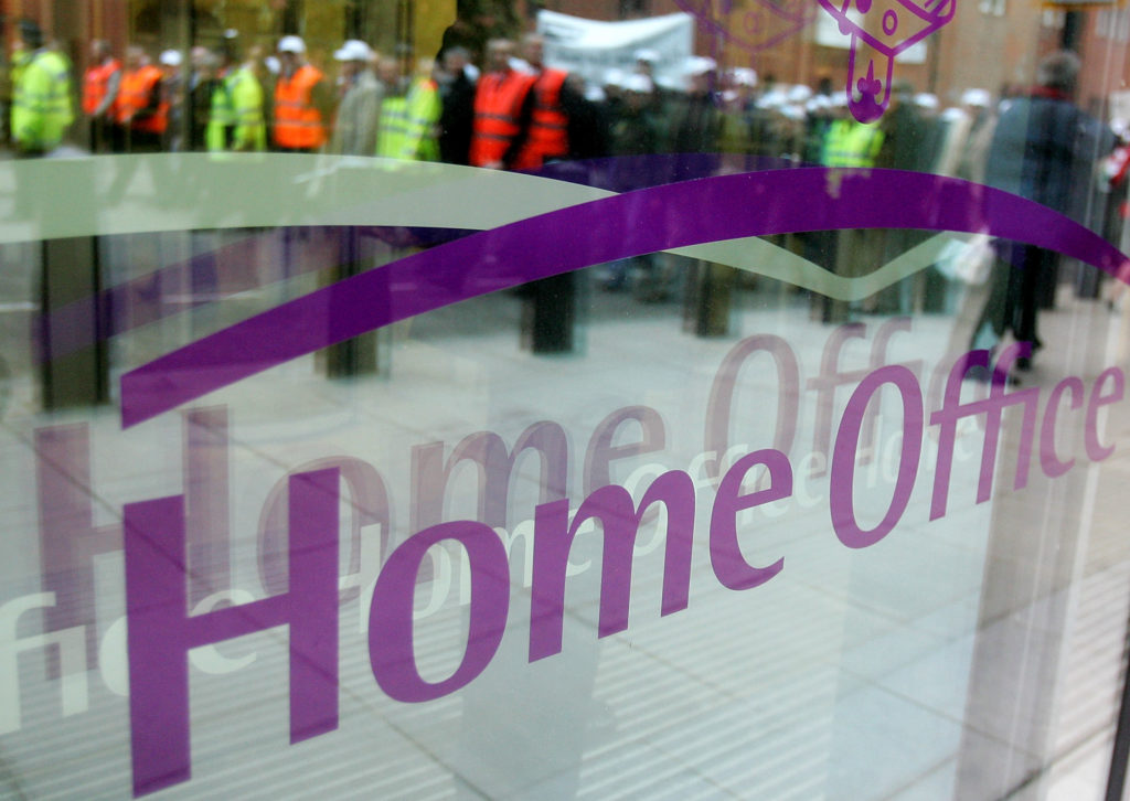The window of the Home Office in central London on January 23, 2008
