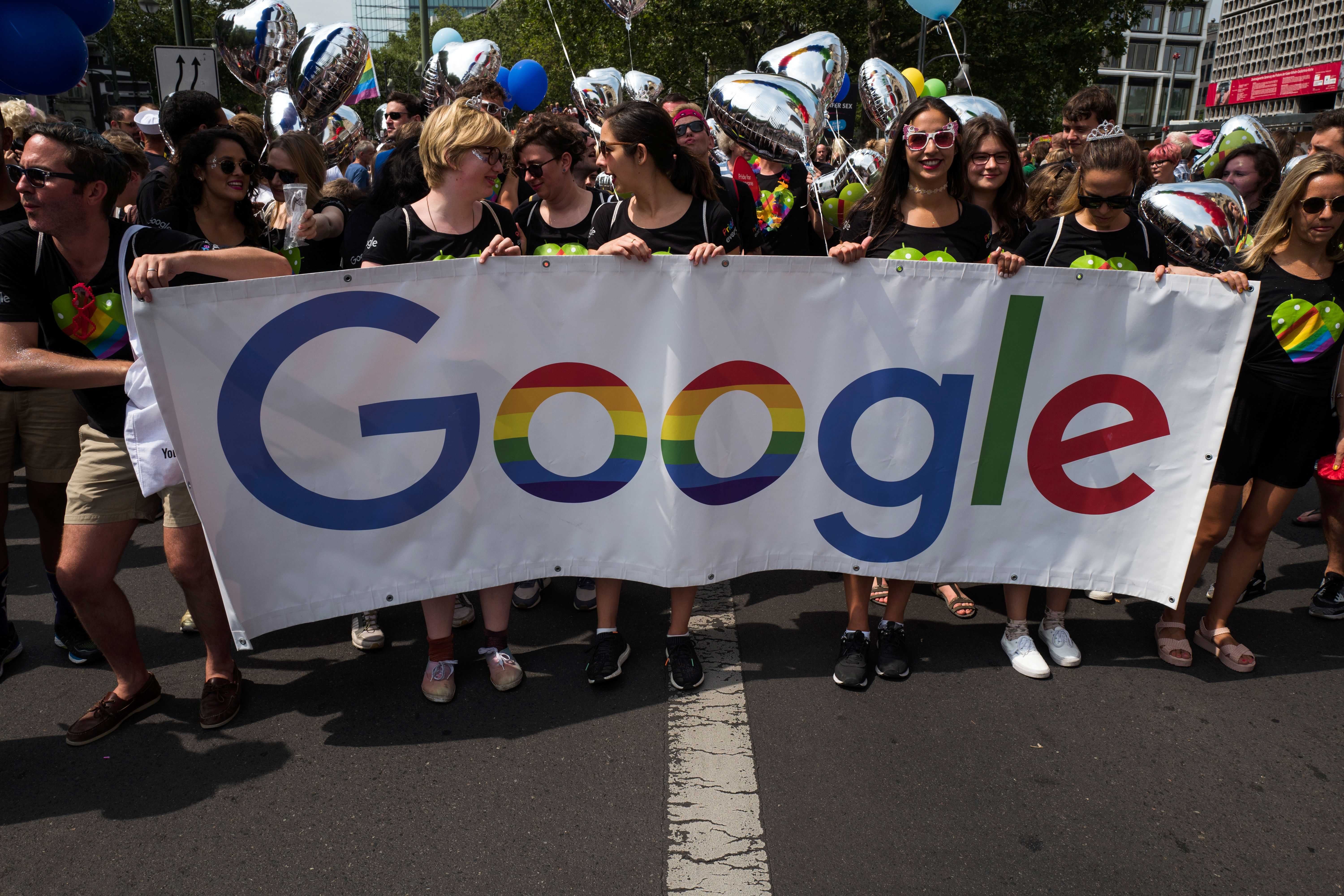 Google banner at Berlin's annual Christopher Street Day LGBT+ pride parade