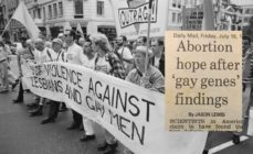 Members of LGBT rights group OutRage at the Lesbian and Gay Pride event, London in 1993
