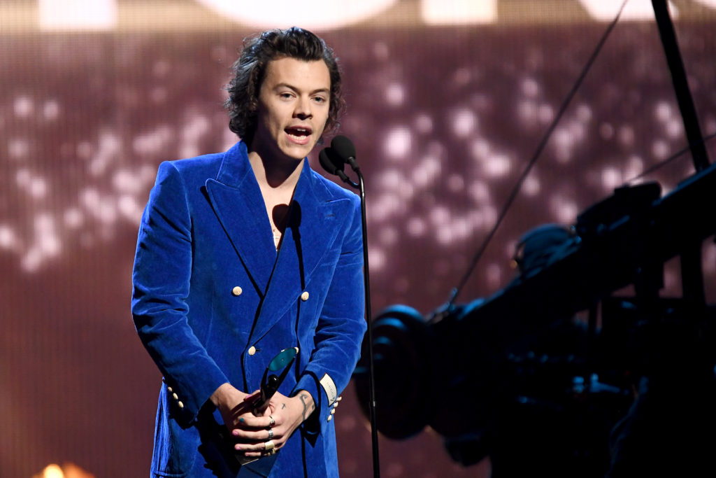 Harry Styles speaks onstage at the 2019 Rock & Roll Hall Of Fame Induction Ceremony - Show at Barclays Center on March 29, 2019 in New York City.