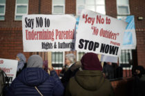 Anti-LGBT education protesters demonstrate against the 'No Outsiders' programme at Parkfield Community School on March 21, 2019 in Birmingham, England.