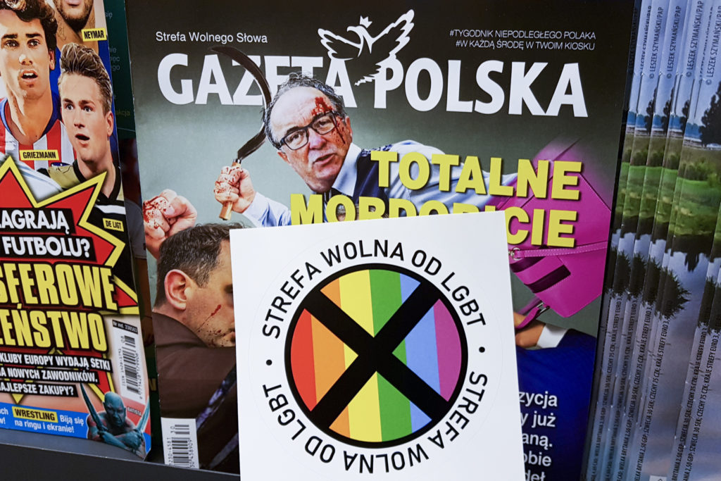 LGBT-free Zone stickers are distributed with the latest issue of Polish conservative weekly newspaper 'Gazeta Polska'. Krakow, Poland on 24 July, 2019.